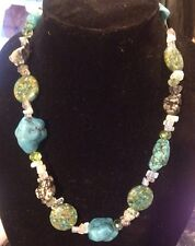 turquoise necklace Native American, Moonstone, Crystal, Quartz, Sterling Clasp