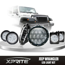 """07-17 Jeep 7"""" 75W CREE LED Headlights DRL with Clear Side Turn Signal Combo"""