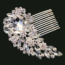 SILVER BRIDAL WEDDING CRYSTAL DIAMANTE HAIR COMB CLIP SLIDE TIARA FASCINATOR SC1
