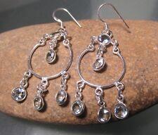 925 sterling silver multi-stone CUT BLUE TOPAZ GEMSTONE earrings.Gift bag.