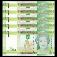 Lot 5 PCS, Jersey 1 Pound, ND(2010), P-32, UNC, Banknotes, Original