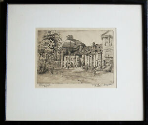 George Huardel Bly 1918 'King and Queen 1650' Brighton Etching framed & glazed