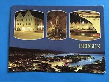 Vintage Post Cards Postcard Bergen Norway The Town By Night 1985
