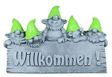Großes Willkommen Schild Wichtel Zwerg Gartenfigur Gartendeko Dekofigur Beton Op