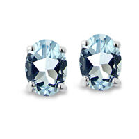 Sterling Silver Blue Topaz 6x4mm Oval-Cut Solitaire Stud Earrings