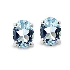 Sterling Silver Blue Topaz 6x4mm Oval-Cut Solitaire Stud Earrings