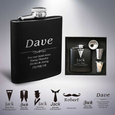Personalised Engraved Hip Flask, 6oz Wedding Fathers Day Gift, Usher, Best Man
