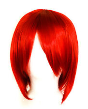 11'' Short Straight Cut with Long Bangs Scarlet Red Cosplay Wig NEW