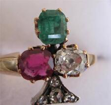 Superb Victorian Ruby Emerald Diamond rose diamond Irish lucky 18ct clover ring