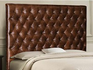 King size Chesterfield headboard in Genuine Brown Leather with Deep Tufting