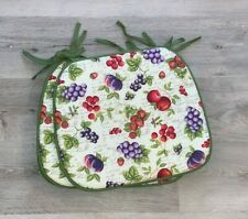 Green Fruit Grapes Strawberry Country Dining Kitchen Chair Cushions Pads Set 4