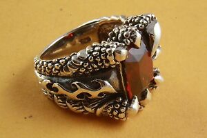 Skull Lilies Cross Claws Ring Red Stone 925 Silver Ring /449