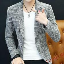Mens Plaids Check SliM Fit One Button Lapel Collar Casual Blazers Jacket 0412