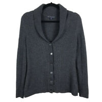 Brooks Brothers Womens 100% Merino Wool Gray Cable Knit Cardigan Size Large