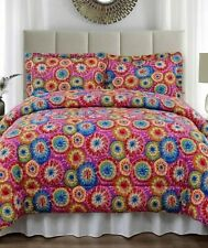 Tie Dye Full Queen Size Jersey Comforter & Pillow Sham Bed 3-Pc Set
