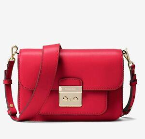 Michael Kors Bag Sloan Editor LG Shoulder With 2 Shoulder Strap Bright Red New