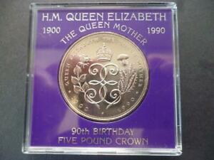 1990  £5 COIN (CROWN) CASED QUEEN MOTHERS  90TH BIRTHDAY 1990 FIVE POUNDS COIN