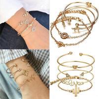 4Pcs Charm Leaf Knot Cactus Opening Bracelet Set Vintage Women Bangle Jewelry
