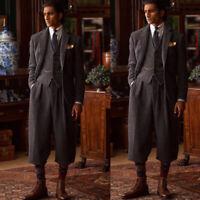 Vintage Tweed Men's Suits Wedding Tuxeods Wool Groom Wear Tailored Fit 3 Pieces