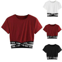 Fashion Women Summer O-Neck Short Sleeve T-Shirt Casual Crop Top Blouse Pullover