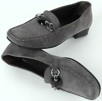 Stuart Weitzman 8-1/2 M Grey Suede Leather Jeweled Flats Loafer Shoes Spain