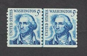 1966 5¢ Washington Coil Stamps, Scott #1304 -- Joint Line Pair -- Mint, NH w OG
