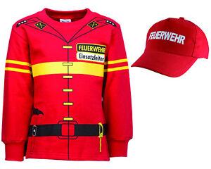 Kinder Feuerwehr Uniform Kostüm 2er SET Sweat + Cap Gr. 92 bis 134