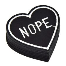 Nope / Heart / Slogan / Iron on / Sew on patch / Applique / Badge