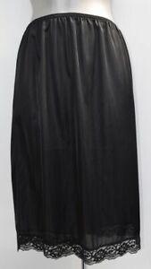 LADIES underskirt half slip waist petticoat BLACK With lace hem NEW Size 10 - 20