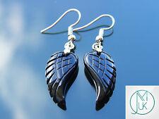 Black Onyx Angel Wing Gemstone Earrings Natural Quartz Chakra Healing Stone