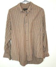 HAROLD POWELL Beige Red Green Checked L/S Button Front Cotton Shirt Sz L