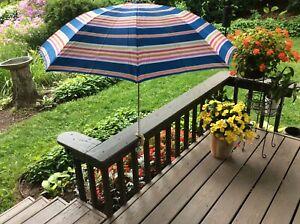 "vintage 36"" Cloth clamp on patio beach Chair Table umbrella 1950's mcm retro"