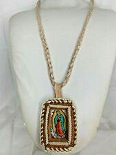 NEW virgen de guadalupe VIRGIN MARY LEATHER NECKLACE LUCKY CHARM