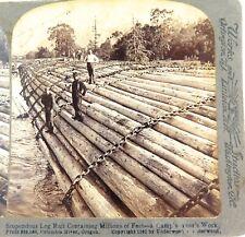 .USA 1902, COLUMBIA RIVER OREGON, LOG RAFT LOGGING UNDERWOOD STEREOVIEW CARD.