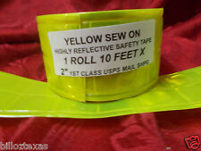 10' SEW ON REFLECTIVE SAFETY YELLOW GREEN SAFETY TAPE.  USA shipper, FREE SHPG