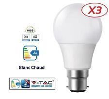 Pack 3 Ampoules LED B22 Baïonnette 12W (eq. 75 watt) Blanc Chaud marque V-TAC