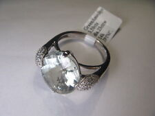 Unique Estate 14K White Gold Green Amethyst Pave Diamond Ring