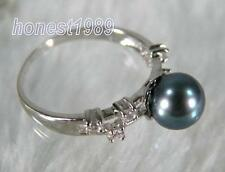 Natural peacock green 7mm AAA+++ Perfect Round South Sea Pearl Ring Silver