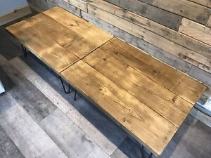 Rustic Reclaimed Pine Coffee Table On Hairpin Legs.