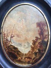 Très Belle Peinture 1880 Sur Metal Romantique Huile Paysage Napoleon 3