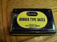 Vintage Justrite Rubber Type Dates Tin w/ Wood Type Rack & Tweezers    USA