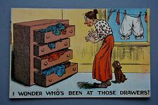 R&L Postcard: Comic, Thin Old Woman Chest of Drawers, Bloomers Underwear