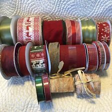 Christmas Ribbon Holiday Red Green Gold Big Lot Sweater Country Bark Wired
