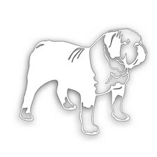 Bulldog Dog pet decal for car or truck windshield bumper sticker White
