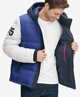 Tommy Hilfiger Men White Blue Hooded Puffer Varsity Roy Jacket Coat