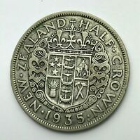 Dated : 1935 - Silver Coin - New Zealand - Half Crown Coin - King George V