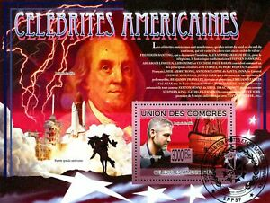 Comoro Islands Stamps - (2009) - S/Sheet -Famous American People - Cancelled