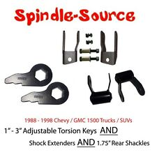 "88 - 98 CHEVY GMC 1500 Truck SUV 1 - 3"" Torsion Keys + Extenders + LIFT Shackles"