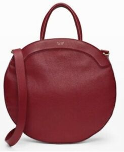 Large Round Tote Bag Club Monaco. TL 180. Burgundy. Preowned.Made in Italy $658