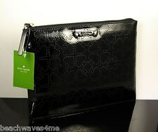 Kate Spade Large Pouch Metro Black Purse Clutch Heart Perforated Case Wlru1441